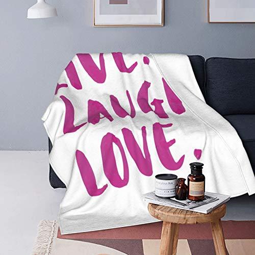 Felpa Manta de Tiro Suave Ligero,Live Laugh Love Decor,caligrafía de Mensaje de Vida Feliz en Tono Vibrante Tema Inspirador,Blanco Fucsia,Manta de Cama Edredón de Viaje para Sofá Cama,60' X 80'