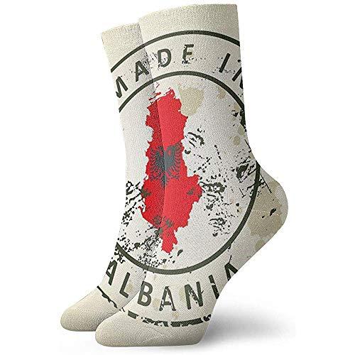Tedtte Novedad sello de calcetín divertido con mapa Bandera de Albania Calcetines deportivos impresos Calcetines de regalo personalizados de 30 cm de largo