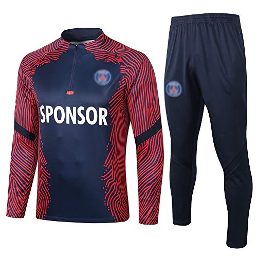 ZHWEI Europe Football Club Training Suit Gym Outdoor Sports Men's Half Pull Jersey Suit (Tops + Pants)- AG0342 (Size : M)
