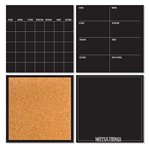 Wall Pops WPE1875 Modern 4 Piece Organizer Kit, Black