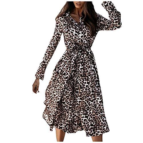 Vestido de otoño para Mujer, Vestido Largo Estampado de Moda, Vestido de Leopardo de un Solo Pecho con Cuello...