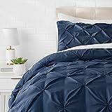 Amazon Basics Pinch Pleat Comforter Set - 155cmx220cm/80cmx80cmx2, Navy Blue