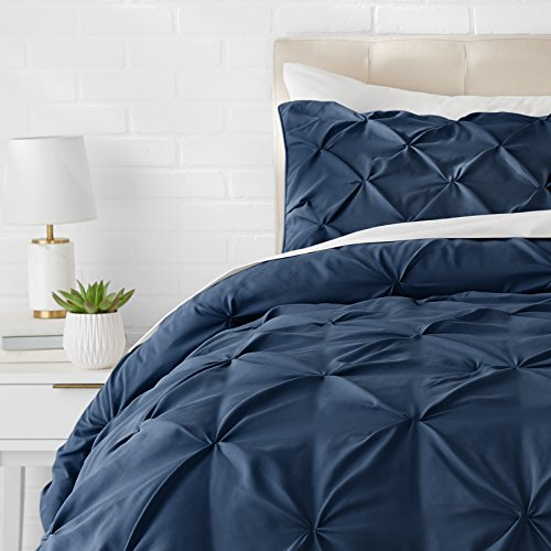 AmazonBasics Pinch Pleat Comforter Set - 155cmx220cm/80cmx80cmx2, Navy Blue
