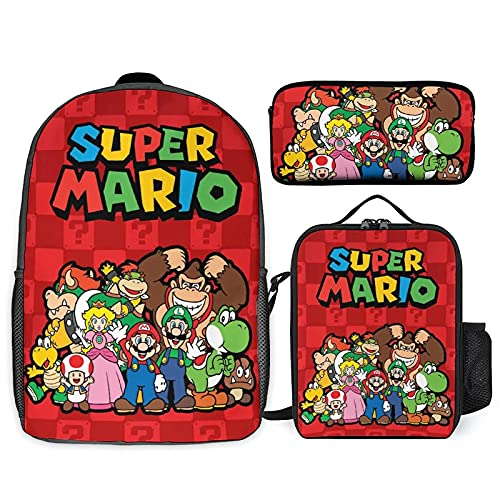 Mochila de 3 piezas, mochila con caja de almuerzo aislada y bolsa de lápices, lindas bolsas 3D, mochila de viaje casual de moda, mochila para portátil de 17 pulgadas, Color 4, Taille unique
