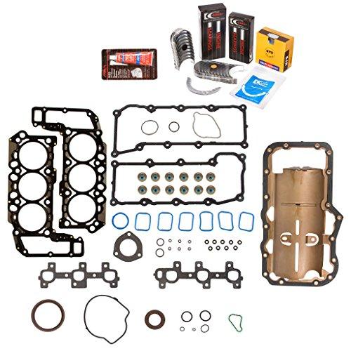 Evergreen Engine Rering Kit FSBRR8-30300\0\0\0 Fits 02-05 Dodge Jeep 3.7 SOHC VIN K Full Gasket Set, Standard Size Main Rod Bearings, Standard Size Piston Rings