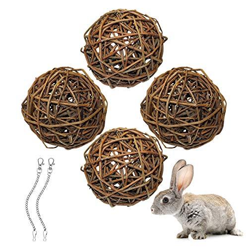 4 Stück Weidenkugel(10cm), Kauspielzeug Für Kaninchen, Meerschweinchen Spielzeug, Vogel Kauspielzeug, Lustiger Kleintierspielzeug Ball Für Kaninchen, Papagei, Chinchillas, Hamster, Zwergkaninchen (M1)