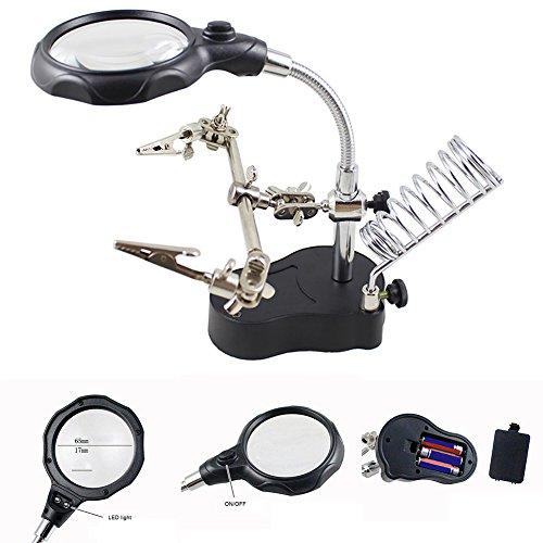 Lupa de luz LED y lámpara de Escritorio con Lupa, 3 x 12 x USB LED luz Manos Libres Lupa Soporte de Cristal con Abrazadera y Pinzas de cocodrilo