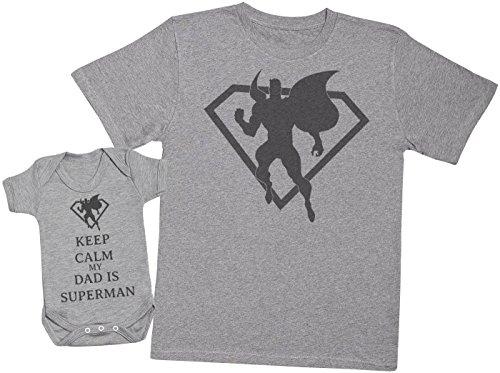 Keep Calm My Dad is Superman - Ensemble Père Bébé Cadeau - Hommes T-Shirt & Body bébé - Gris - XX-Large & 6-12 Mois
