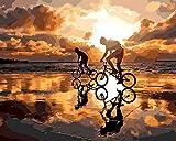 Boutiquespace Paint by Number DIY Pintura acrílica Ciclismo en el crepúsculo DIY Dibujo Decoracion Set de Regalos en Lienzo Salón para Niños Adultos principiantes -40 x 50 cm No enmarcado