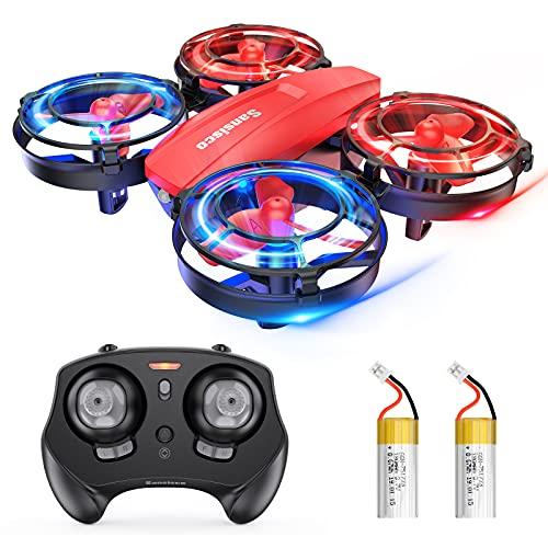 Mini Drohne für Kinder, RC Quadrocopter ferngesteuert mit LED Licht, Kampfdrohne, 360° Propellerschutz, 3D Flip, Kopflos Mode, 3 Geschwindigkeit, Sansisco Indoor Kinder Drohne Klein für Junge Mädchen