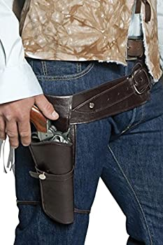 Smiffys mens Authentic Western Wandering Gunman Belt & Holster Brown  One Size