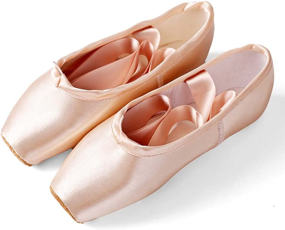Satin Ballet Shoes for Girls/Toddlers/Women, Satin Ballet Practice Shoes Full Sole Ballet Slippers Dance Shoes with Ribbon