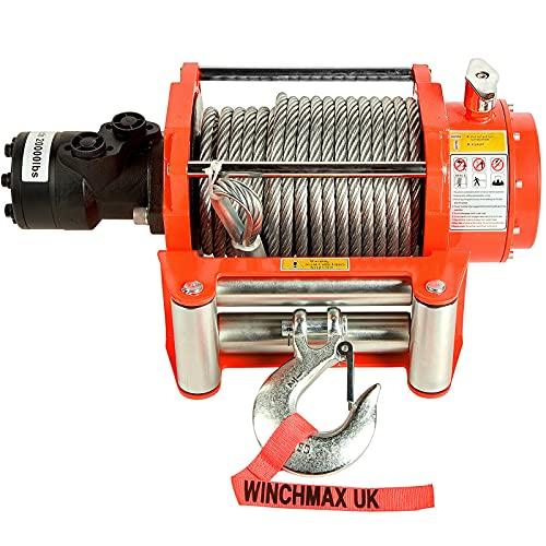 Winchmax 20.000 libras (9.072 kg) Cabrestante hidráulico naranja original con cuerda...