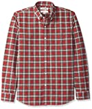 Marca Amazon – Goodthreads – Camisa Oxford a cuadros de manga larga y corte estándar para hombre, Verde (red/green tartan), US L (EU L)