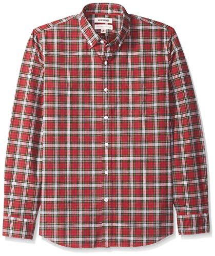 Amazon Brand - Goodthreads Men's Standard-Fit Long-Sleeve Plaid Oxford Shirt, red/Green, Large