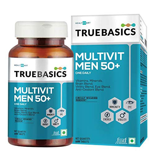 TrueBasics Multivit Men 50+ One Daily, Multivitamins, Multiminerals, Anti-oxidants with Brain, Eye and Energy Blend, 90 Veg Tablets