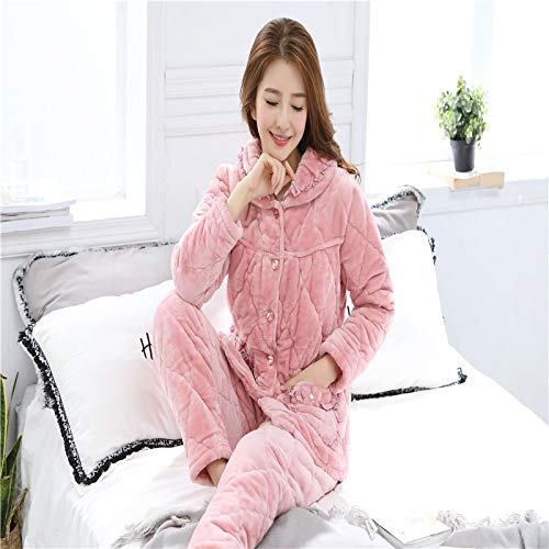 XFLOWR Winter Dick Warme Frauen Flanell Clip Baumwolle Pyjamas Set Langarm Blumen...