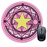 Pink Mouse Pad, Round Magic Field Mouse Mat, Cute Mouse Pad with Design, Non-Slip Rubber Base Mousepad with Stitched Edge, Waterproof Office Mouse Pads, Small Size 8.7X 8.7 Inch, Pretty Magic Field
