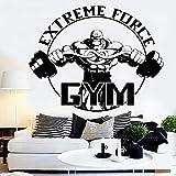 zqyjhkou Gym Hombres Fitness Pegatinas de Pared para Sala de Gimnasio Deportivo Decoración de Interiores Fondos de Pantalla Vinilo extraíble Deporte Calcomanías de Pared L85x67cm