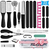 Professional Pedicure Tools Set, Home Pedicure Kit for Foot Spa, Pedicure Supplies with Foot File Kit Dead Skin Remover Feet Scrub for Foot Care, Best Pedicure Set Gifts for Women 23 Pcs