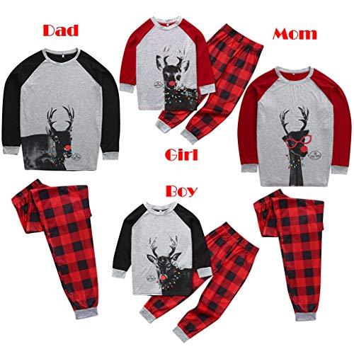 SDLRYF Vater Mutter Kinder Baby Familie Passenden Nachtwäsche Rotwild Weihnachten Familie Outfits Schlafanzug Xmas Schlafanzug Karierte Hose Nachtwäsche