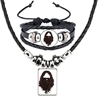 Hairstyle Beard Men Women Leather Necklace Bracelet Jewelry Set