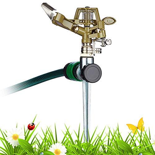 FANDE Irrigatore da Giardino con picchetto,Spruzzatore Rotante Regolabile,Spruzzo d Acqua Ugello Testa Sprinkler Strumento di irrigazione agricola Regolabile 0 °- Modello a 360 °