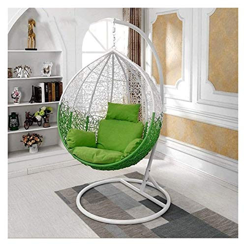 DYYD Egg Chair Cushion Hanging Egg Chair Cushion/Hanging Rattan Chair Rocker Cushion/Swing Basket Cushion, Single Rattan Cushion, Removable and Washable (Color : Green)