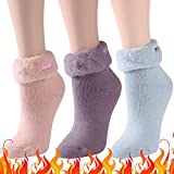 Womens Heat Thermal Socks, Three street Wife Trapping Insulated Heated Boot Thermal Warm Winter Skiing Hiking Crew Cold Weather Hot Heat Thermal Slipper Girlfriend Gift Socks 3 Pairs blue pink purple