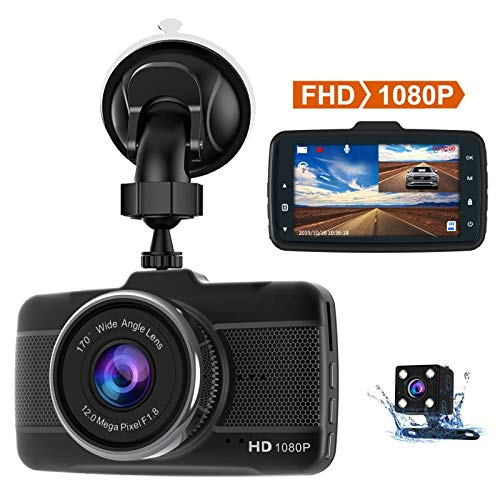 Claoner Caméra Embarquée Voiture, Dash Cam Voiture Full HD 1080P F1,8 Vision Nocturne, 170 Degrés Angle, l'Écran de 3'' avec Mode de Stationnement, Détection de Mouvement, Enregistrement en Boucle