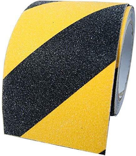aus Deutschland 1 Rolle Anti-Rutsch Klebeband 10cm x 5m Grip Tape Antirutschbelag für rutschfeste Treppenstufen im Innen und Außenbereich, schwarz-gelb