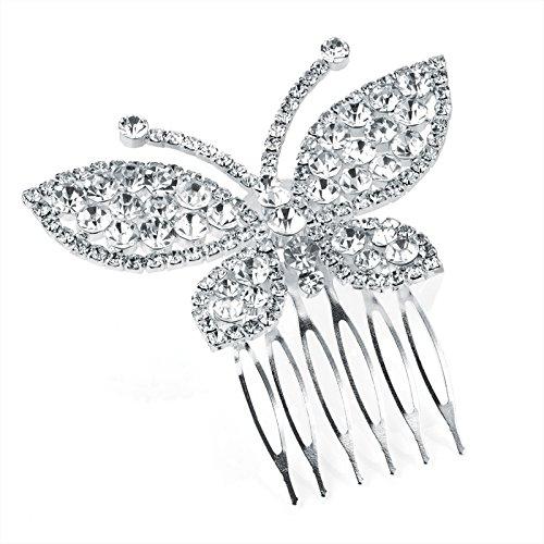 HA26674 Peigne à cheveux papillon couleur argent cristal pour mariage et bal