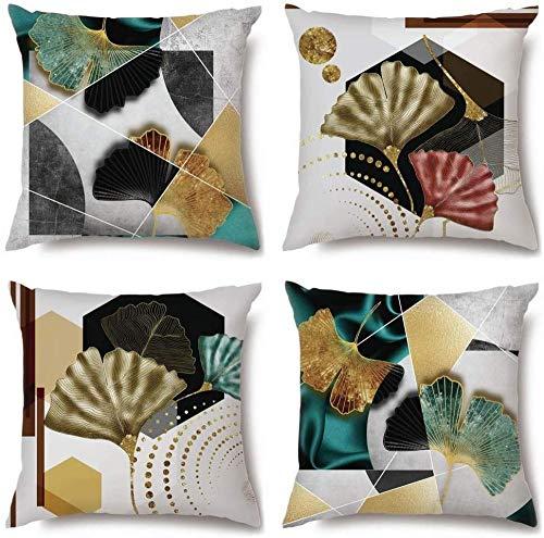 IUYJVR Fundas de Almohada Cojines para sofá Funda de Almohada Decorativa de Microfibra de poliéster Funda de Almohada para Coche Sofá Cama Almohada 45 x 45cm Paquete de 4-Aspa del Ventilador