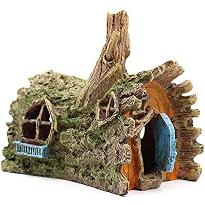 ANIMALS Hamster Cage Reptile House Aquarium Ornaments Fish Tank Decorations Landscape Scenery Supplies Hamster Cave Terrarium Hideouts Gift (Color : Brown, Size : 15 * 11.5 * 13.5cm) from YCDJCS