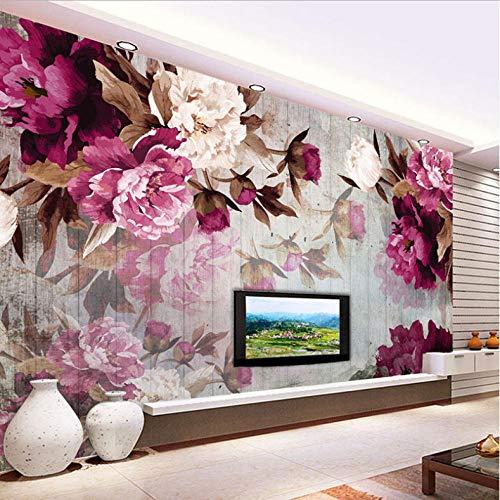 Pbbzl Fotobehang, Europese stijl, pioenrozen, hout, handbeschilderd, grana, bloemen, muurschildering, woonkamer, slaapkamer, wanddecoratie 120 x 100 cm.