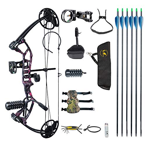 """SHARROW Compound Bow and Arrow Kit Adults and Teens Hunting Bow Right Handed 10-40 lbs Adjustable 17-27""""Draw Length Package with Archery Hunting Equipment (Pink Camouflage)"""