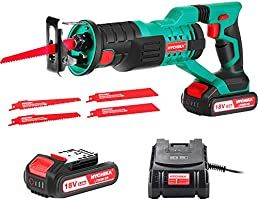 Reciprocating Saw, HYCHIKA 18V Cordless Saw with 2x2000mAh Batteries, 0-2800rpm Variable Speed Electric Saw, 4 PCS Saw...