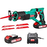Reciprocating Saw, HYCHIKA 18V Cordless Saw with 2x2000mAh Batteries, 0-2800rpm Variable Speed Electric Saw, 4...