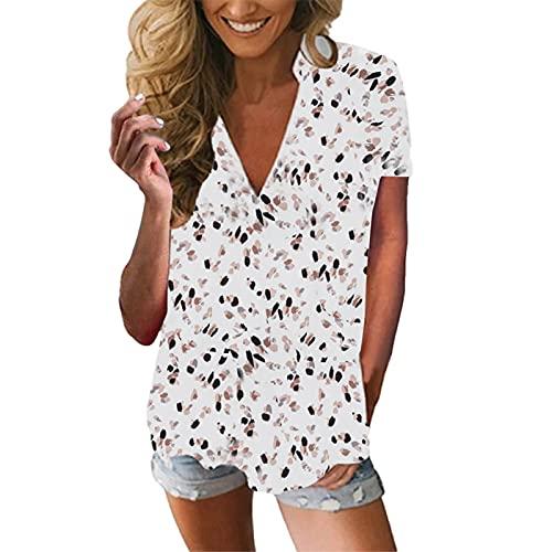 XPT Top Damski, Modna Letnia Koszula Z Dekoltem W Szpic Oversize Fashion Printed Casual T-shirt Na Imprezę Biały*M