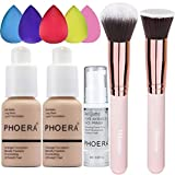 2 Pack PHOERA Foundation Nude 102 and PHOERA Primer,Liquid Full Coverage Foundation Set,Foundation Brush Powder Brush,5 Makeup Sponge,PHOERA 24HR Matte Oil Control Concealer (Nude #102)