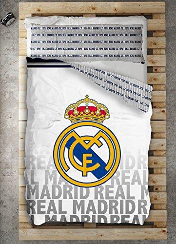 TEXTILONLINE - Funda Nordica 2 Pzas. Real Madrid Emblema (Cama 105 cms, Color Unico)