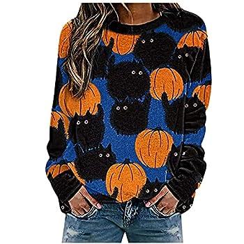 Sweatshirt d'Halloween pour femme avec imprimé citrouille graphique col rond décontracté à manches longues, bleu, L