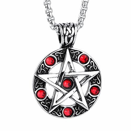 COPAUL joyería retro inoxidable CZ circonios de plata del pentáculo formado para hombre-remolque con 60 cm cadena, colour rojo y negro plata