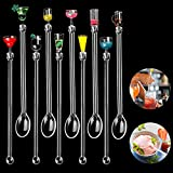 10 Pcs Cocktail Stirrers,Acrylic Drink Stirrers and Cocktail Mixing Spoons,Reusable Cocktail Stirrers Swizzle Sticks with Wine Glass Patterns,Tropical Styles Gin Stirrers for Drinks Tea Coffee Party