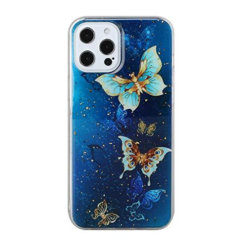 HengJun Estuche para iPhone 11 Pro Transparente con diseño de Hoja de Oro Brillante Diseño Delgado Protector Suave TPU Parachoques en Relieve Patrón 3D - Mariposa Azul