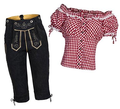 Gaudi-Leathers Damen Set Lederhose Kniebund schwarz 44 + Carmenbluse Rot 44