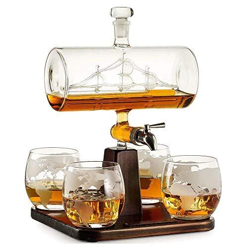 Tcbz Juego de 5 jarras Creativas con Forma de Barco Antiguo, Jarra de Vidrio para Whisky de Vino Tinto, Vidrio de Cristal sin Plomo Hecho a Mano, 1 Jarra + 4 Copas de Vino, para Regalos de Amigos