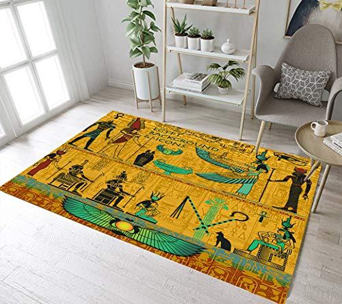 LB Figura mitológica egipcia Alfombra de Salón faraón Alfombras Interior Lavable Suave...