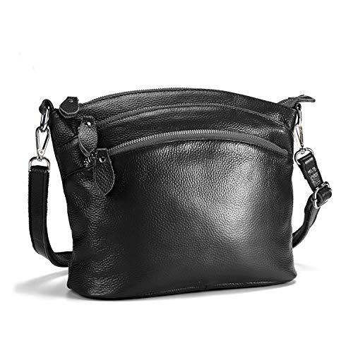 Lecxci Genuine Leather Crossbody Purses Zipper Wallets Shoulder Bags for Women (4 Zipper Pockets - Black)