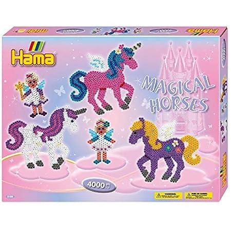 Hama Geschenkpackung Zauberhafte Pferde, ca. 4000 Bügelperlen, 2 Stiftplatten und Zubehör